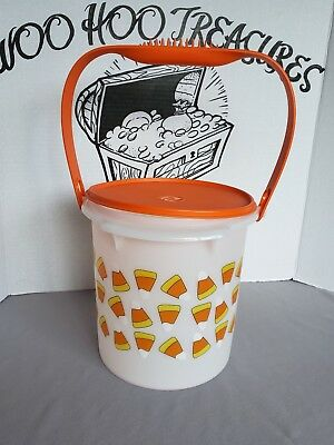 Tupperware Halloween Candy Corn Canister Trick or Treat Bucket with Handle