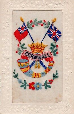 Duke Of Cornwall's Light Infantry: Military Badge: Ww1 Embroidered Silk Postcard