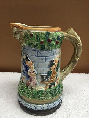 Vintage Victorian Style Ceramic Pitcher With  Raised Figures