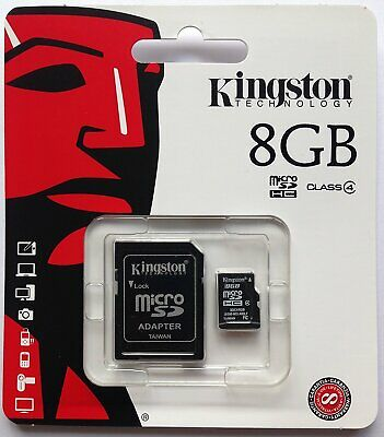 Kingston 8GB Class  Micro SD SDHC Flash Memory Card Speicherkarte 8 GB