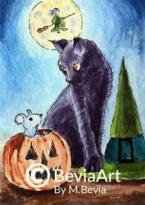 ACEO PRINT Halloween Black Cat and Mouse Fine Art Giclee M.Bevia