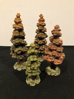 Dept 56 Halloween Village ~ LOT (4) Resin Fall Autumn Trees # 52616