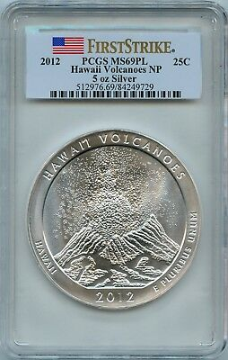 2012 5oz Silver ATB Hawaii Volcanoes National Park PCGS MS69 PL