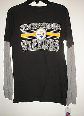 3d2cd3cd8 New Youth Boys NFL Pittsburgh Steelers Black Long Sleeve Jersey Tee T Shirt  MED.