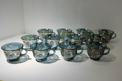 Indiana Glass Lot of 4 Iridescent Blue Carnival Harvest Princess 6oz Punch Cups