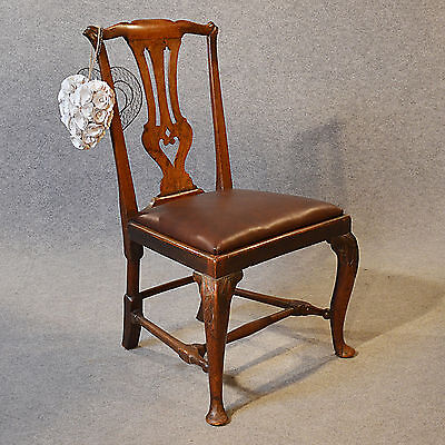 Antique Chair Dining Side Fine English Leather & Mahogany pre Chippendale c1740