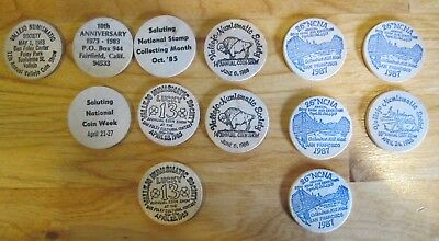 Lot of (13) Various Wooden Nickels 1983 to 1988