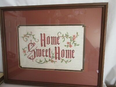 """Vintage 1980's Framed & Double Matted """"Home Sweet Home"""" Completed Needlework"""