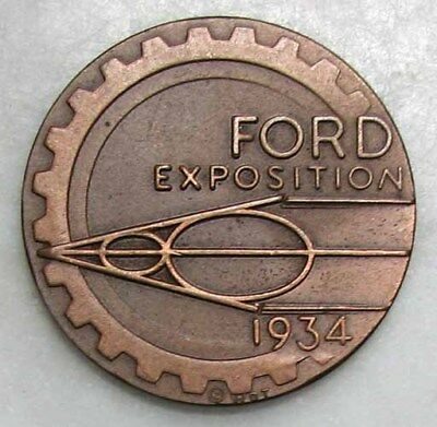 ORIGINAL NOS 1934 FORD V-8 CENTURY OF PROGRESS EXPO BRONZE MEDAL or TOKEN #E138