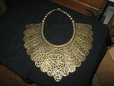 Egyptian Revival Brass-tone Cleopatra Bib Necklace Art Deco Style- Halloween