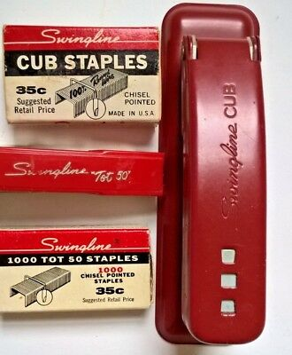 Vintage Swingline Cub And Tot Staplers Red With Staples Estate Lot