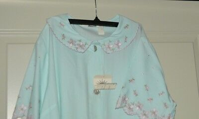 Vintage Robe Loungewear Duster - Blue Floral Embroidery Trim Buttons & Ties NWT