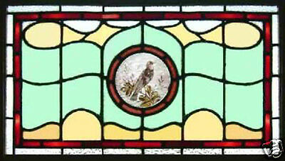 Antique Victorian Stained Glass Window GRACEFUL BIRD UK