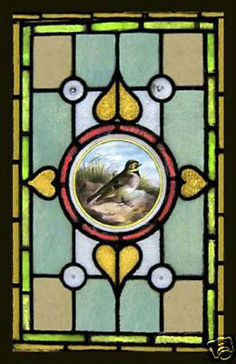 Antique Victorian Stained Glass Window FEATHERED FRIEND
