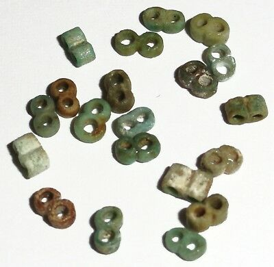 20 Rare Ancient Egyptian Faience Mummy 2-Hole Glass Beads, 2500 y/o, 4-5mm