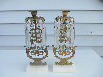 2 Antique Girandoles Candlesticks with Prisms & Marble Bases Gilt Bronze
