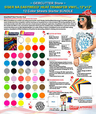 "Siser easyweed htv heat transfer vinyl,12"" x 12"" -12 color sheets starter bundle"