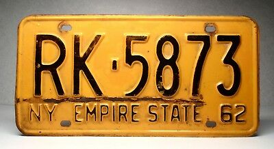 1962 New York NY License Plate RK-5873 Empire State