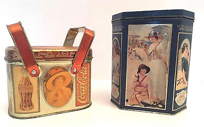 2 Coca-Cola Tin Boxes Drink of the Year 1993 & Antique Look Double-Handle 1988