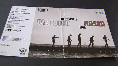 DIE TOTEN HOSEN FEB 2nd 2002 DÜSSELDORF ORIGINAL TICKET!