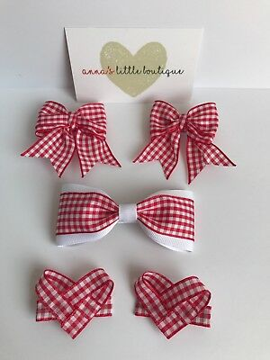 b36ac65be362 Red and white school girl gingham hair bows the ultimate set x5 handmade