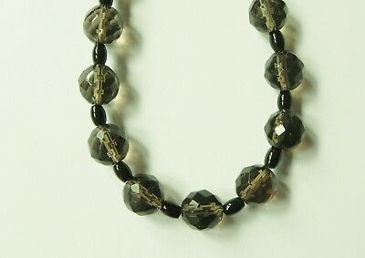 Stunning smoky quartz and black onyx gemstone necklace.