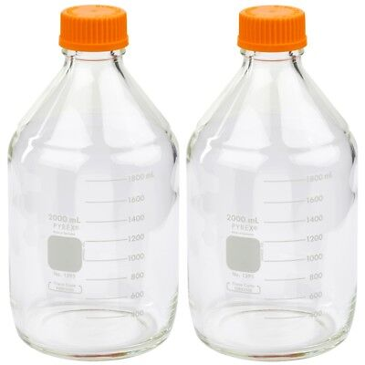 Corning PYREX #1395-2L, Round Media Storage Bottle, with GL45 Screw Cap (2 pack)