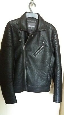 NEXT Boys / Black faux Leather Biker Jacket - Chest - 36/37 inches / Size Small