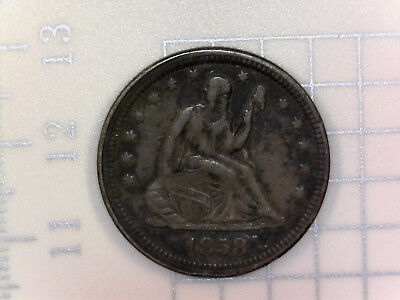 1858 Seated Liberty Silver Quarter Dollar, Full Liberty, Toned Coin, High Value!