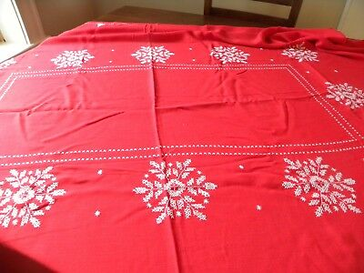 Vintage Christmas Tablecloth  Red with white Snowflakes 50 x 70