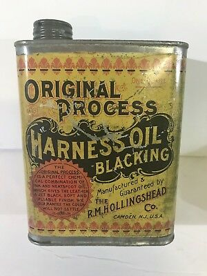 Vintage Original Early 1900's Tin R.m. Hollingshead Harness Oil Tin Soldered Can