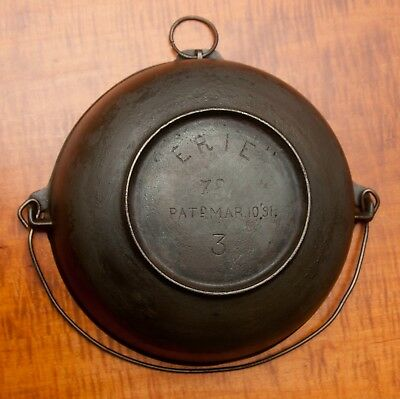 "Antique ""erie"" Cast Iron No.3 Scotch Bowl With Heat Ring,pat, Mar, 10, 1891"