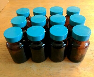 (12) 2oz/60mL Brown Glass Packer Bottles w/PTFE-Lined Green 33-400 Thermoset Cap
