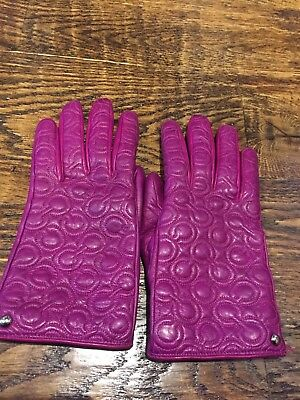 Women's leather Coach gloves with cashmere lining, pink size 7