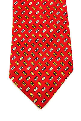 Rooster Men's Neck Tie Ruffler Collection 100% Silk Red Geometric Print