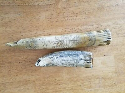2 Vintage Resin Scrimshaw Replica Walrus/Whale Tooth Pieces *6 1/2 and 11 1/2