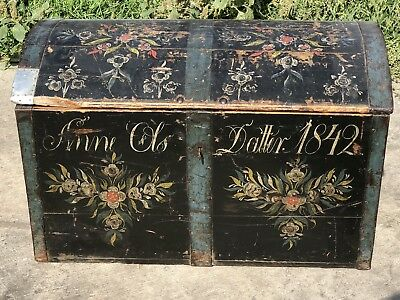 Massive Norwegian or Swedish Painted Immigrant Trunk of Anne Ols Datter 1842