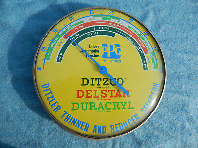 Vintage Ditzler Paint Advertising Thermometer Selector Chevrolet Ford Dodge