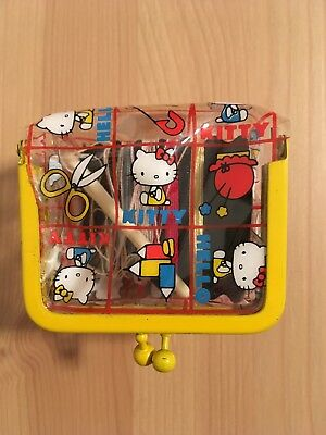 Vintage Sanrio Hello Kitty Mini Sewing Kit Clear Plastic Japan 1975 Yellow