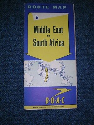 Rare Vintage B.o.a.c Route Map South Africa To Middle East