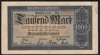 1922 1000 Mark Munich German State Bavaria Old Vintage Emergency Money Banknote