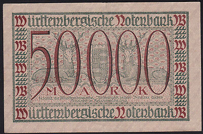 1923 50000 Mark VF Stuttgart German State Wuertemberg Rare Paper Money Banknote