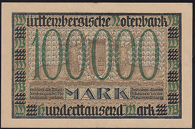 1923 100000 Mark XF Stuttgart German State Wuertemberg Rare Paper Money Banknote