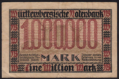 1923 1 Million Mark Stuttgart German States Wuertemberg Paper Money Banknote 1