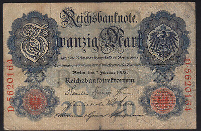 1908 20 Mark Germany Vintage Paper Money Banknote Currency Rare Antique Old Bill