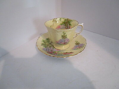 AYNSLEY Country Scene Cup & Saucer C493-7 - Blue Flowers, Pink Trail, Gold Trim