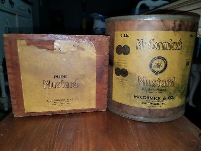 McCormicks Bee Brand Baltimore MUSTARD dovetailed box and Sealed full can. Spice