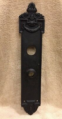 Antique Huge Cast Iron Victorian Door Knob Back Plate Escutcheon 14 1/2""