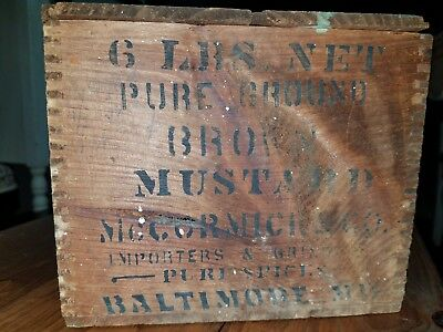 VERY OLD McCormick dovetailed stenciled Brown Mustard box. Importer & Grinders