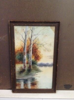 Vintage Autumn Waters Edge Painting (early 20th cent) Signed  -  Tarbell